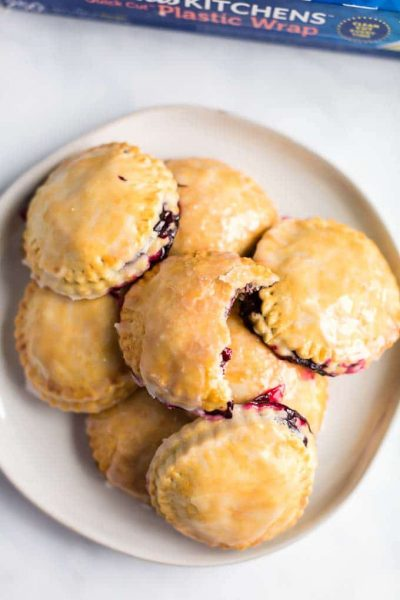 Food on a plate, with Blueberry and Pie