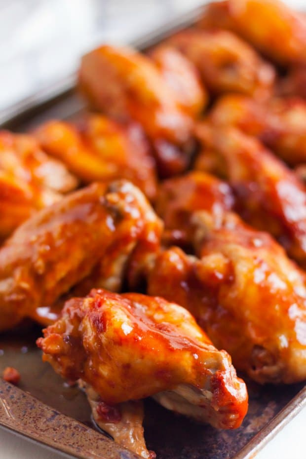 BBQ wings on baking tray