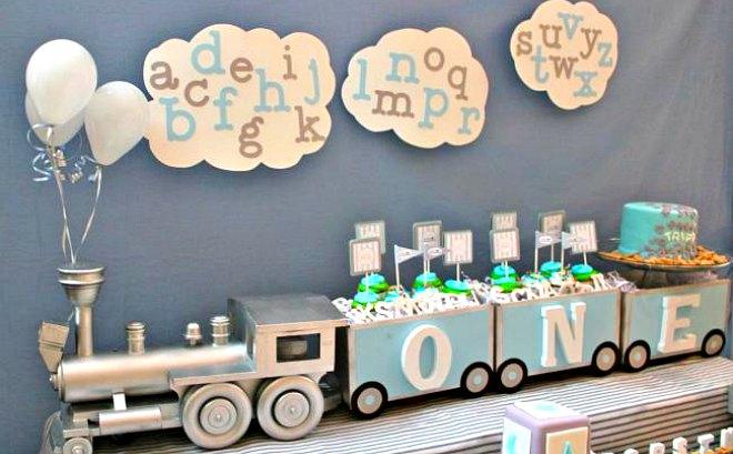 Alphabet Train Themed Boy S 1st Birthday Spaceships And