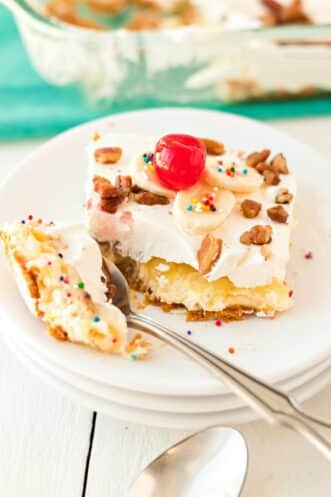 slice of banana split cake