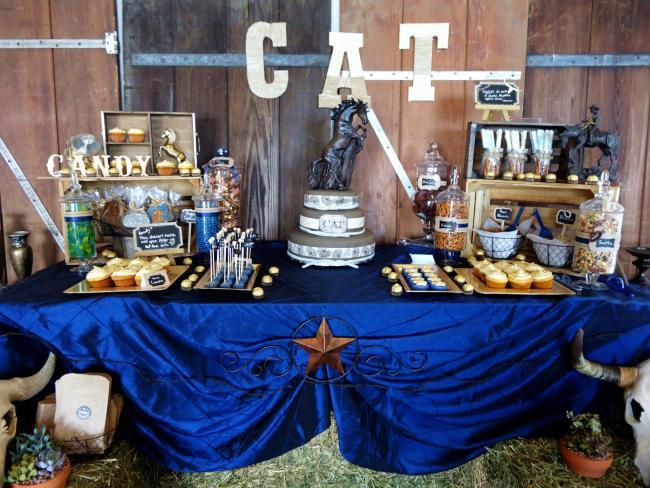Cake Table A Little Boys Cowboy Themed Birthday Party