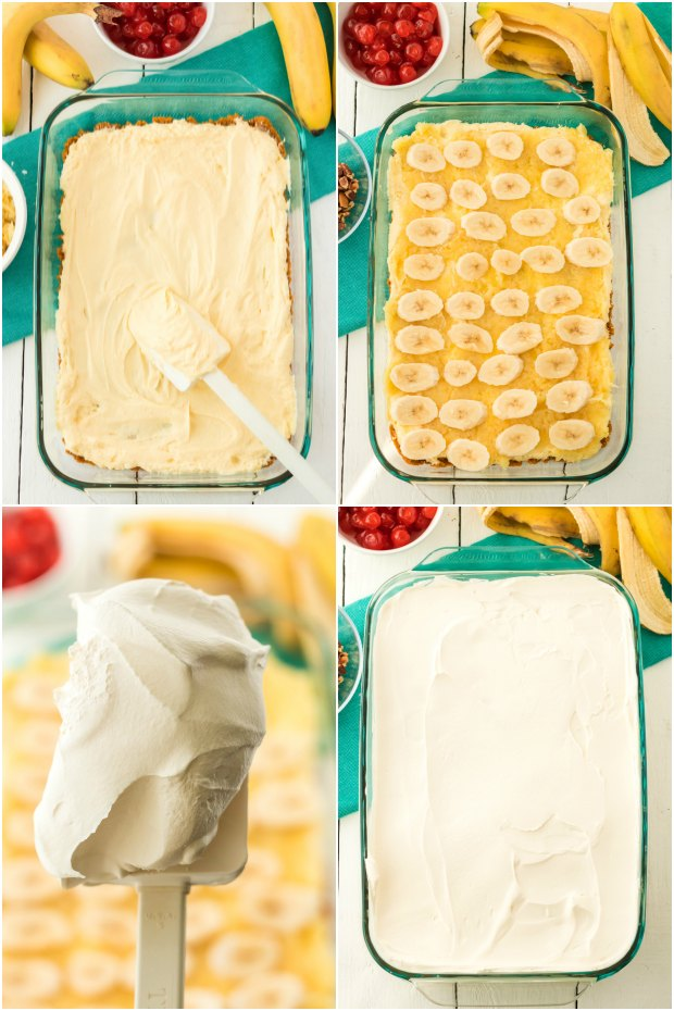 photo collage showing how to make banana split cake recipe