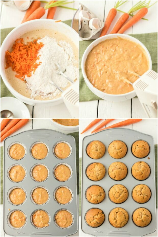 photo collage of steps showing how to make carrot cupcakes