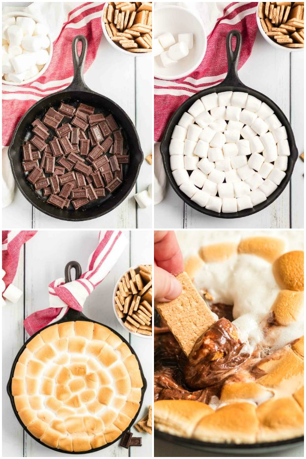 photo collage showing how to make smores dip