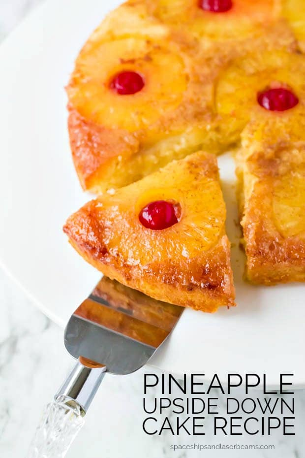 slice being served from pineapple upside down cake