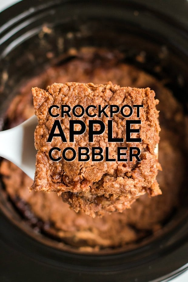 piece of apple cobbler being served from crockpot