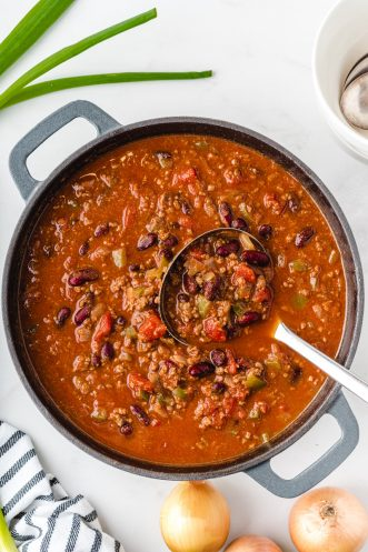 overhead shot of chili in a pot