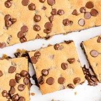 close up overhead shot of chocolate chip cookie bars sliced