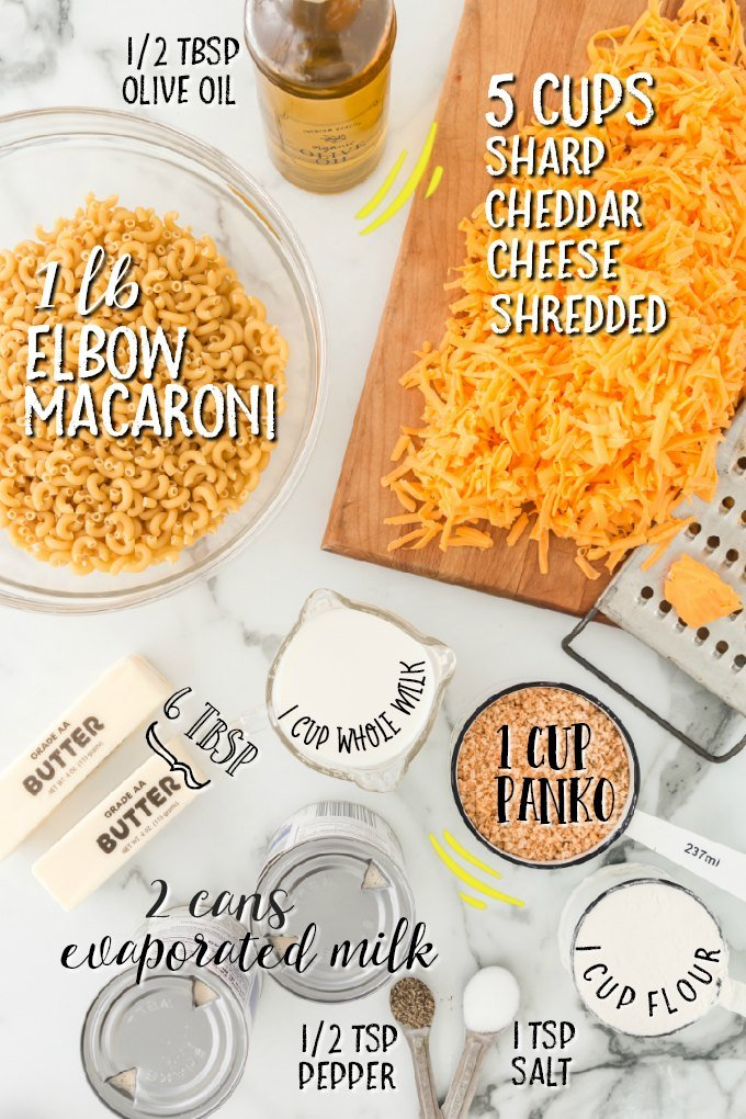 ingredients labelled for baked mac and cheese