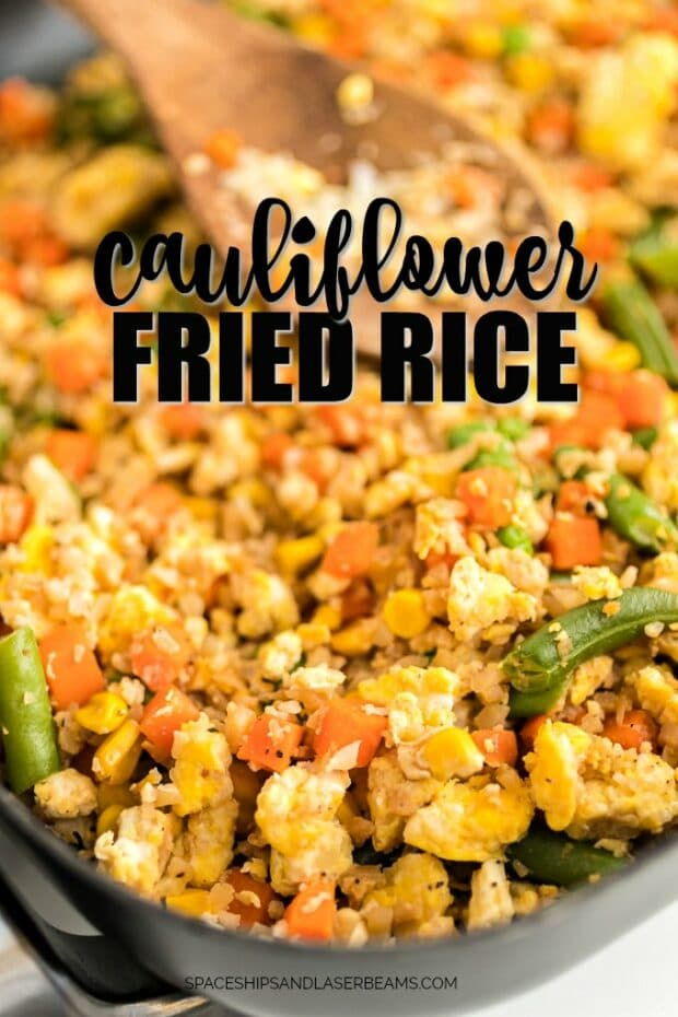 cauliflower fried rice in skillet