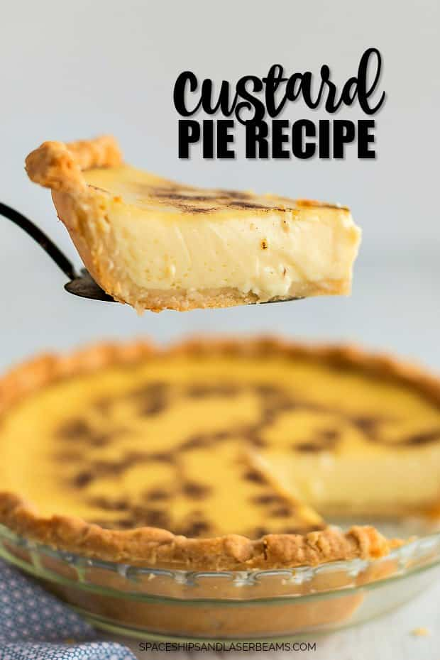 A piece of food on a plate, with Custard pie