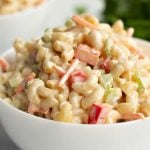 A close up of pasta in a bowl, with Macaroni and Salad