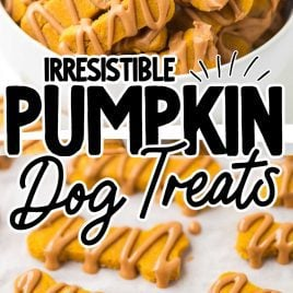 close up shot of Pumpkin Dog Treats drizzled with peanut butter in a bowl and on a parchment paper