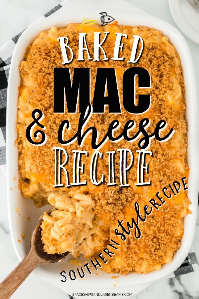 baked mac and cheese in a casserole dish