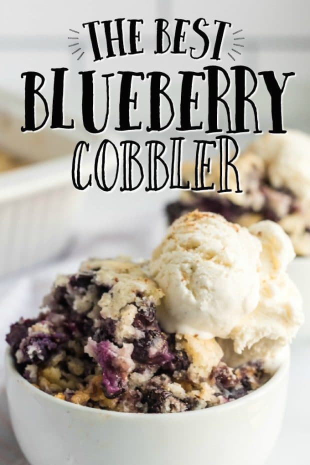 bowl of blueberry cobbler with ice cream