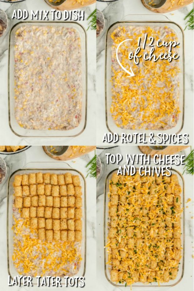 Four photos showing how to make cowboy casserole