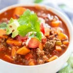 close up of sweet potato chili in white bowl