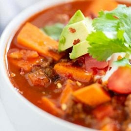 A close up of a bowl of food, with Sweet potato