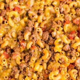 close up overhead shot of Chili Mac in a skillet
