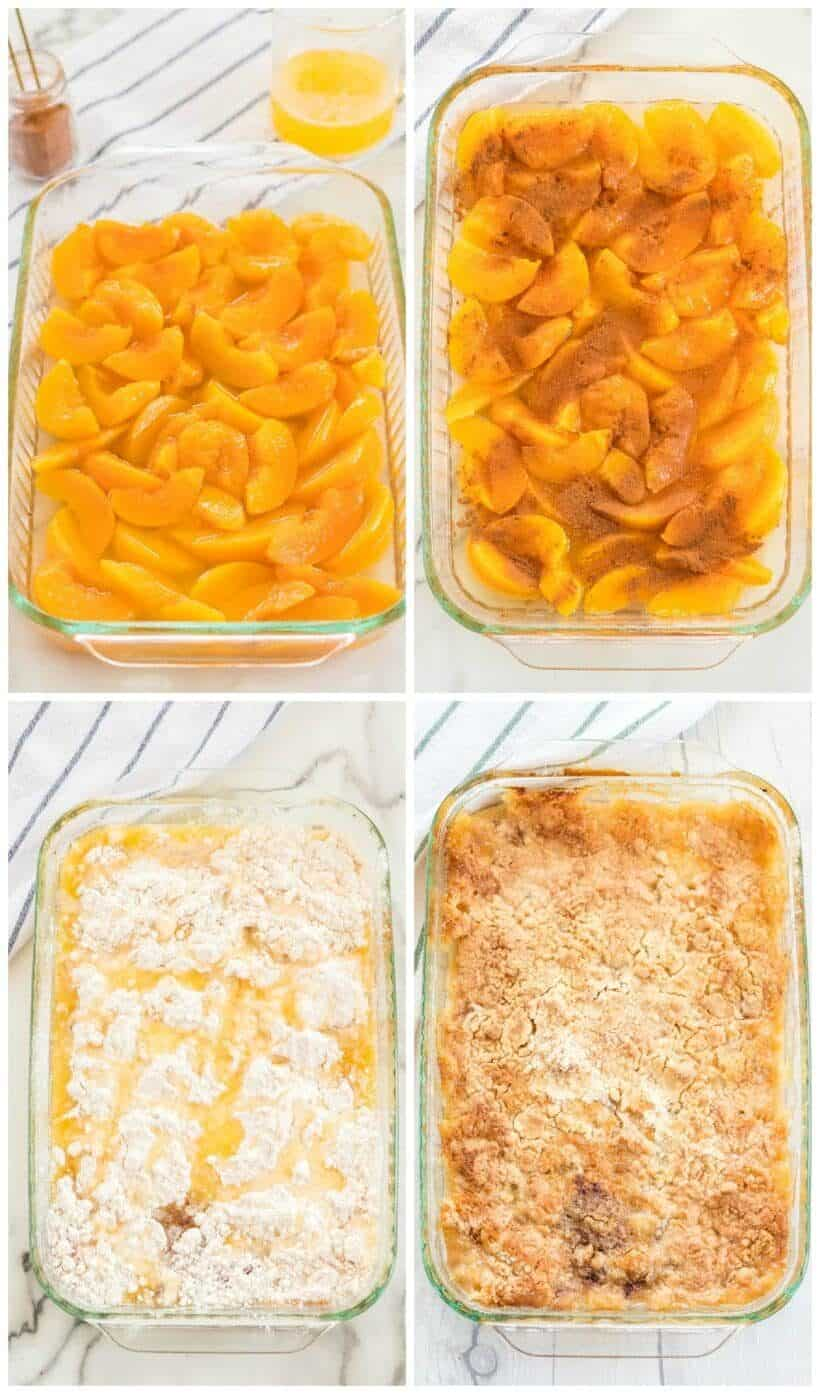 A plastic container filled with food, with Cake and Cobbler