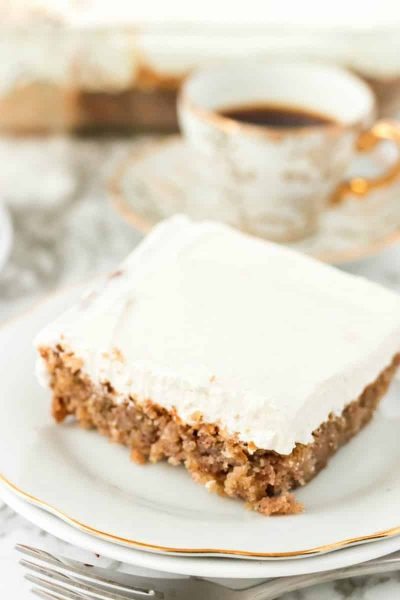 slice of oatmeal cake with white frosting