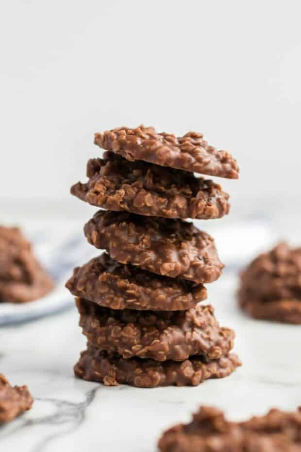 stack of no bake cookies