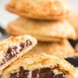 close up shot of S'mores Hand Pies showing their inside chocolate layer