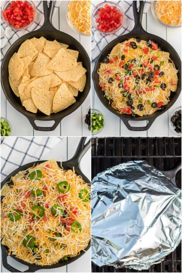 collage showing steps for making campfire nachos