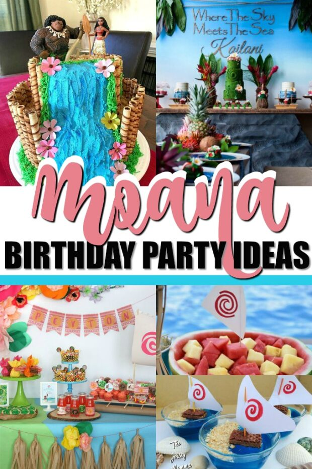 photo collage of moana party ideas