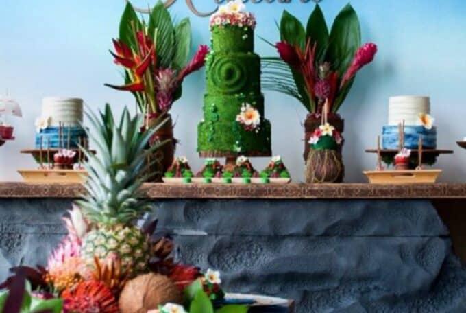 moana birthday party cake table