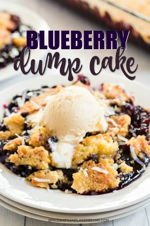 BLUEBERRY DUMP CAKE WITH ICE CREAM ON TOP