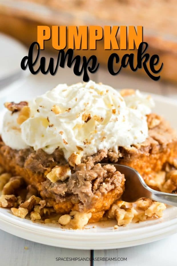 pumpkin dump cake with whipped cream on top