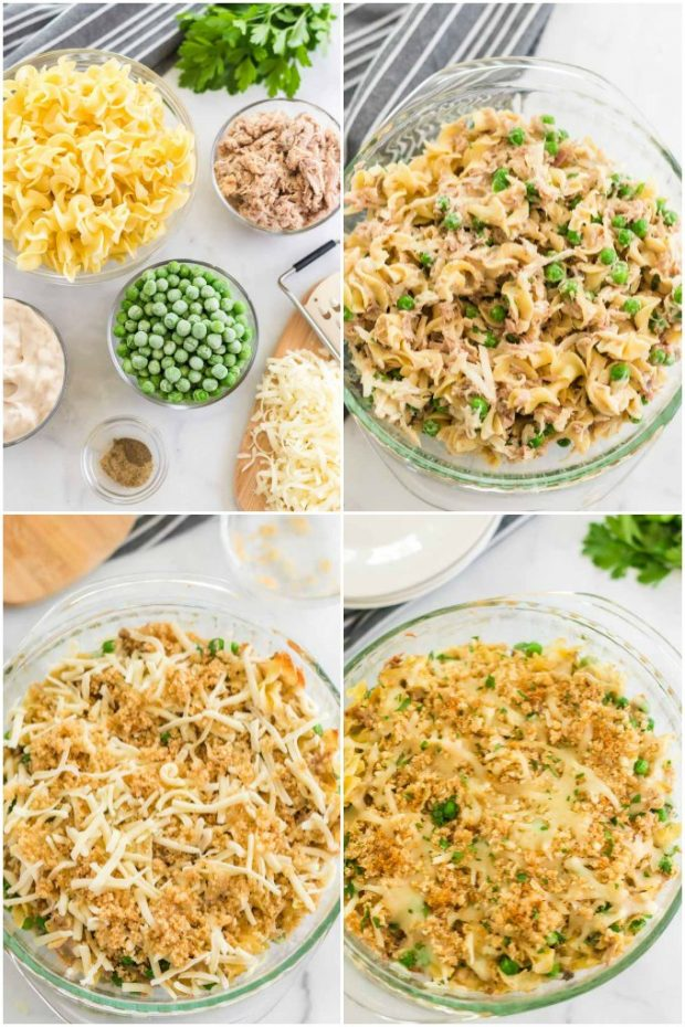 photo collage showing steps for making tuna casserole