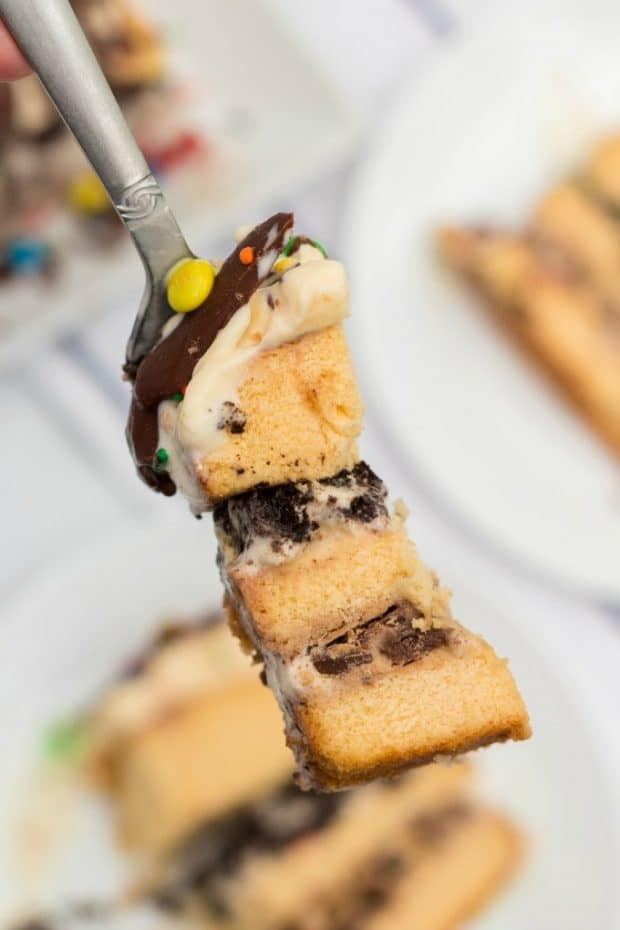 bit of ice cream cake on a fork