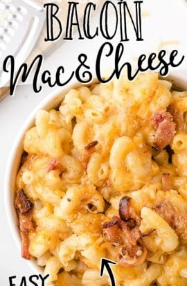 close up overhead shot of bacon mac and cheese in a bowl