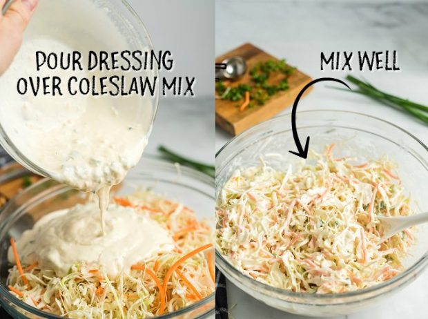 two photos showing how to mix coleslaw and dressing