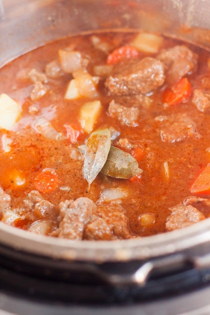 A close up of a metal pan filled with food, with Beef and Stew