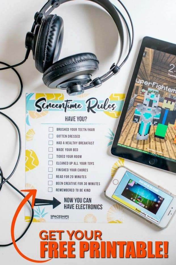photo relating to Screen Time Rules Printable identify Display screen Season Laws (No cost Printable) - Spaceships and Laser Beams