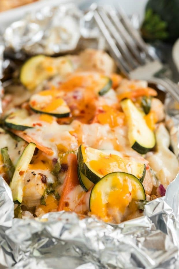chicken and veggies cooked in foil