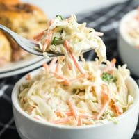A close up of a plate of food, with Coleslaw