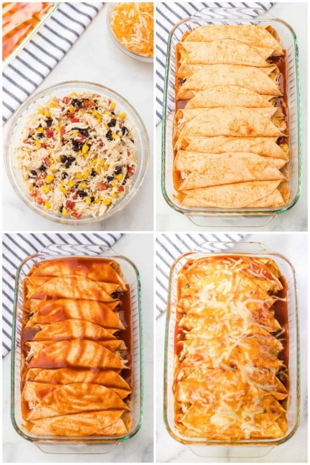 A dish is filled with food, with Enchilada and Chicken