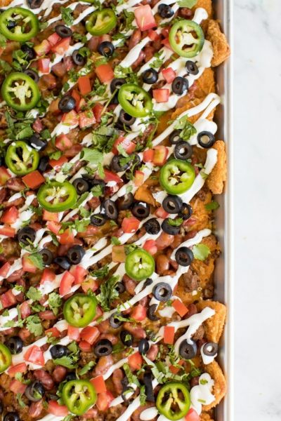 Chicken Chip Sheet Pan Nachos Featured