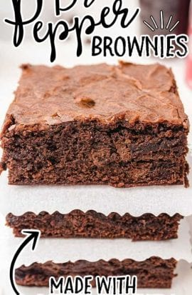 close up shot of Dr Pepper Brownies stacked on top of each other with paper in the middle of each