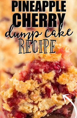 pineapple cherry dump cake on a wooden spoon