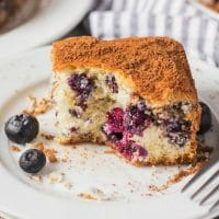slice of blueberry coffee cake with bite out of it
