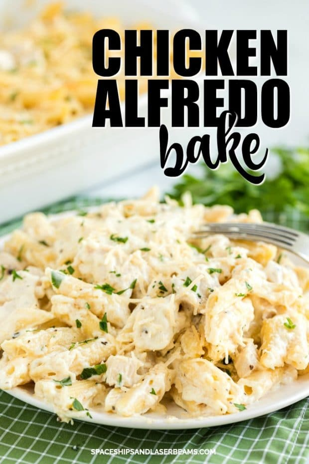 CHICKEN ALFREDO BAKE ON PLATE
