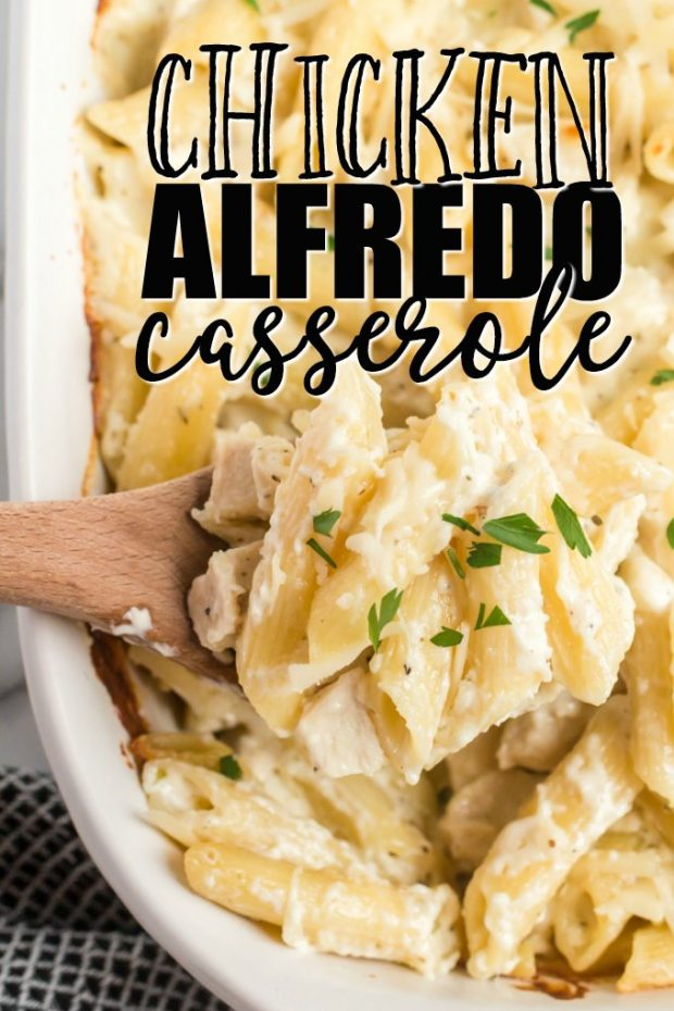 Chicken alfredo casserole with pasta on a wooden spoon