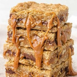 close up shot of Carmelitas bars stacked on top of each other