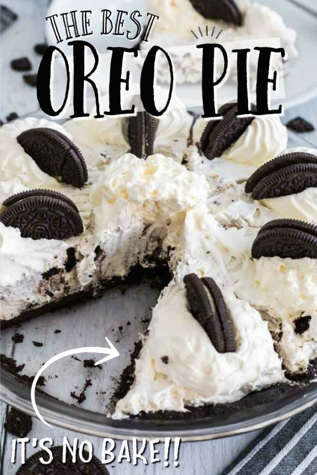 oreo pie with piece removed