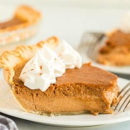 A close up of a piece of cake on a plate, with Pumpkin pie